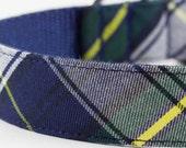 Navy Tartan Dog Collar
