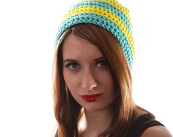 Striped Beanie, Yellow and Blue Hat, Striped Winter Hat, Mens Winter Beanie, Hipster Beanie, Crochet Winter Hat, Blue Beanie Hat