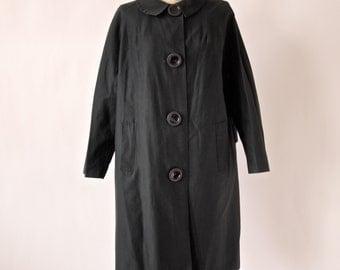 1950's Swing Coat Raincoat Black Mod Fashion Big Buttons Size Medium