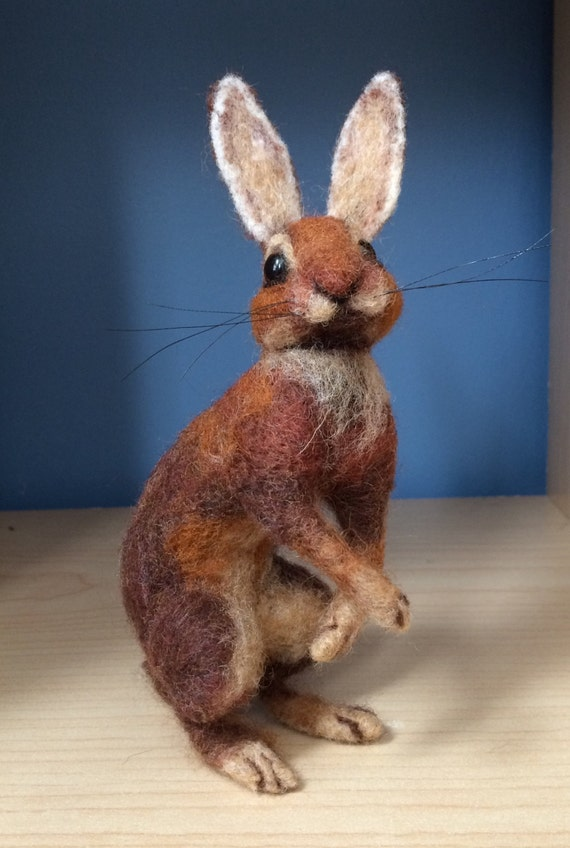 Belgian Hare Needle Felted Sculpture
