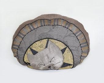 Cushion Cat Chatoune Unique Fiber Art pillow sleeping kitten Oval shape Taupe Gold Black