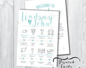 Printed Simply Modern Wedding Itinerary Timeline with Welcome Letter - SET OF 25