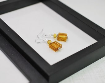 Gold Glass Earrings, Gold Earrings, Square Tile Earrings, Gold Drop Earrings, Yellow Earrings, Everyday Earrings, Yellow Drop Earrings