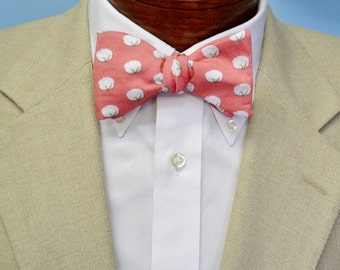 Cotton Boll Men's Bow Tie, Pink Bow Tie, Adjustable Bow Tie, Self-tie Bow Tie, Pre-tied Bow Tie, Southern Bow Tie, Preppy Bow Tie, Cotton