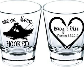 Wedding Shot Glasses - Wedding Favors - Party Favors - Shot Glasses - We've been Hooked Shot Glasses- Bachelor Party - Custom Shot Glasses