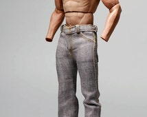 mc0326 Light Grey Denim Relaxed Straight Long Pants Jeans for 1/6 Figure Enterbay Hot Toys TTL