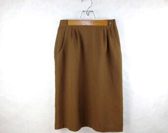 Explorer High Waisted Skirt / Long / Tan / Pleating / Pocket Detail / 8 Small - Medium