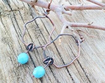 Turquoise Glass Earrings. Czech Glass Earrings. Oxidized Copper Earrings. Handmade Earrings. Ethnic Earrings.