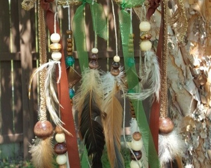 Owl Dream Catcher Green Brown Feather Beads Ribbon