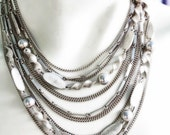 Vintage Ball and Chain Goldtone Bib Necklace Huge Statement Jewelry Show Stopping