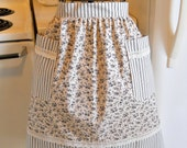 Old Fashioned Vintage Style Half Apron in Floral Ticking and Lace