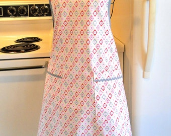 Grandma Style Full Apron in Gray Pink and Red MADE TO ORDER