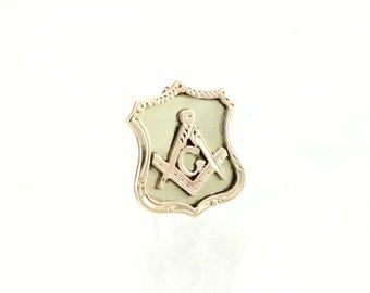 Antique 10K Masonic Lapel Pin -1890 Victorian Gold