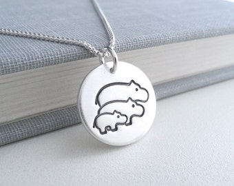 Hippo Family Necklace, Mom, Dad, Baby Hippo, Two Moms, Two Dads, New Family Necklace, Fine Silver, Sterling Silver Chain, Made To Order
