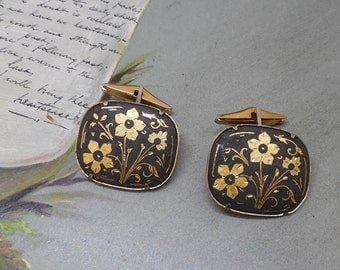 Vintage Gold Damascene Cufflinks w/ Floral Design from Spain    NAB28