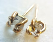 Herkimer Diamond & Gold Stud Earrings - gold claw earrings - boho earrings - simple stud earrings - dainty earrings - herkimer earrings