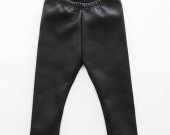 Black Faux Luxe Leather Leggings Boys Girls Organic Baby Christmas Winter
