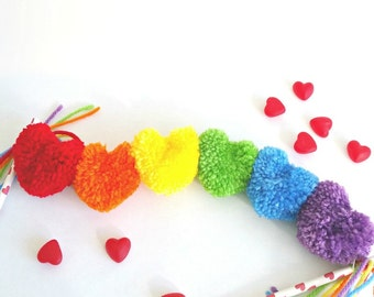 Rainbow Heart Yarn PomPom Garland | Wedding | Nursery | St. Patrick's Day | Party Decor | Banner | Buntings | Photo Prop | Love | Rainbow
