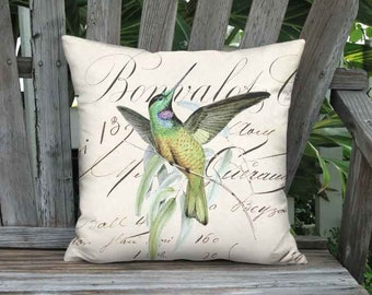 Pillow Cover - Pillow- Bonvalot Hummingbird French Cottage Coastal Bird Pillow - 16x 18x 20x 22x 24x Inch Linen Cotton Cushion Cover