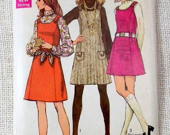 Simplicity 8394 Vintage Pattern 1960s 1963 Mod dress Jumper sleeveless scarf Blouse Belted Bust 34 Shift Sack French darts