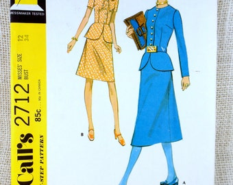 McCall's 2712 vintage sewing pattern Blazer peplum jacket Skirt Bust 34 tie neck button down glam