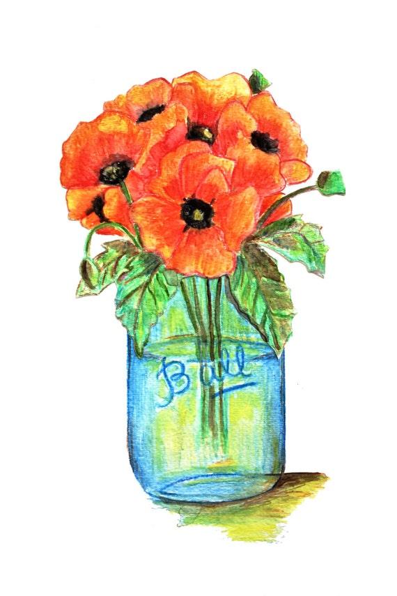 Mason Jar Wall Art, Watercolor Poppies, Mason Jar Wall Decor,  Mason Jar Print, Housewarming Gift, Farmhouse Decor