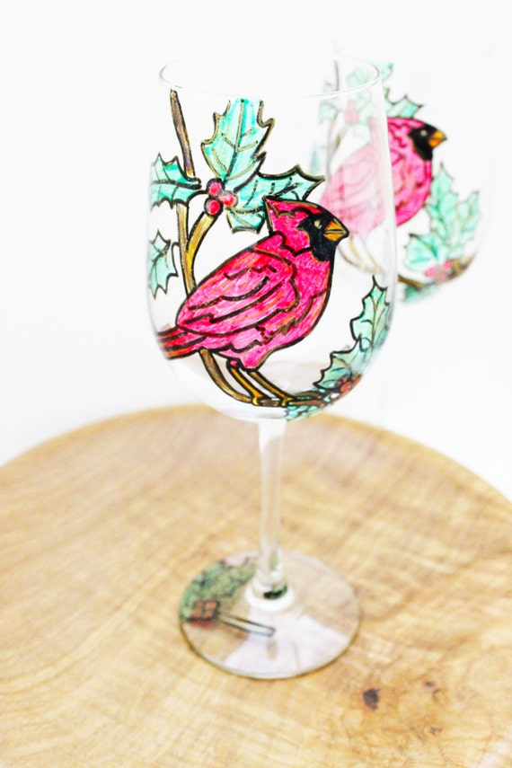 Hand Painted Cardinal Wine Glasses, Hand Painted Wine Glasses, Cardinal Gifts, Christmas Wine Glasses, Wine Gift, Holiday Wine Glasses,