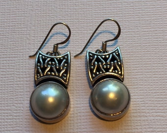 Vintage Sterling Silver and Pearl Dangle Earrings