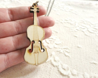 Wooden cello / violin / viola / guitar pendant necklace, long length, long necklace, music jewelry, Harmony Maker