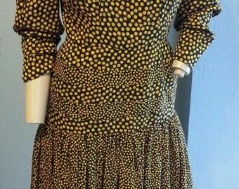 Vintage Albert Nipon Black Mustard Gold Polka Dot Circles Silk Bow Dress S 4