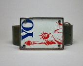 Belt Buckle License Plate Statue of Liberty New York Unique Gift for Men or Women Recycled