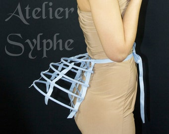 One blue ribbon and lacing Crinoline hoop cage back bustle pannier