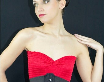 Waist cincher underbust corset in black coutil and stretch elastic ribbons Totaly closed waist size is  51cm(20 inches)