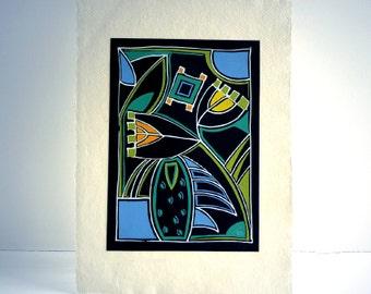 Original modern Art Deco painting, colourful art on black card, summer, garden, flowers