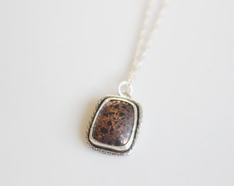 Firebrick Square Necklace / Copper Firebrick Pendant Necklace in Sterling Silver 18 inch Necklace / Michigan Stone Necklace