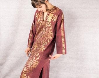 70s/80s Ethnic Tunic Dress/// Size Small