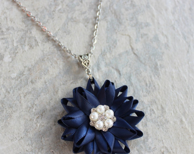 Navy Blue Necklace, Navy Blue Jewelry, Rhinestone, Pearl, Silver, Navy Necklace, Navy Blue Wedding Jewelry, Dark Blue Bridesmaid Necklaces
