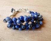 Blue Denim Sodalite Gemstone Women's Bracelet
