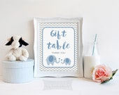 Gift Table Printable Sign, Blue Elephant Baby Shower Sign, Grey Chevron, 2 Sizes, Baby Boy, INSTANT DOWNLOAD