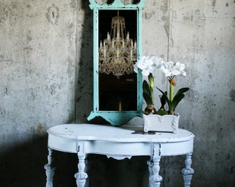 C H I P P Y, Aqua Painted Mirror Worn Patina