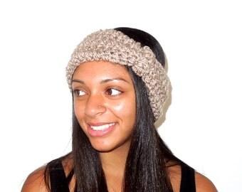 Crochet Headband, Ear Warmer, Turban, Adult, Crochet, Taupe, Women,Teen, Ready To Ship