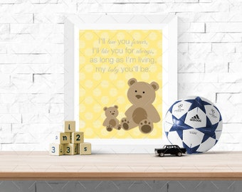 Teddy Bear Mom and Baby Quote, Yellow Polka dot, Art Typography Poster, Graphic Design Art, Digital Wall Art 8x10 Print, INSTANT DOWNLOAD