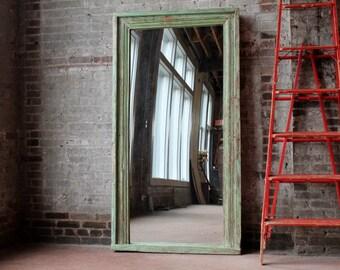 Full Length Floor Mirror Antique Indian Architectural Fern Green Boho Global Indian Full Length Mirror Moroccan Mirror Mediterranean