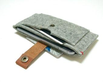IPHONE 6 / 6s WALLET FELT - grey 100% natural merino wool - leather closure - felt case