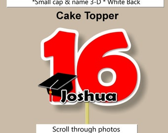 Graduation Party Decorations Centerpiece or Cake Topper - College or High School - CUSTOM COLORS - Invitation, Announcement, Favor Tags