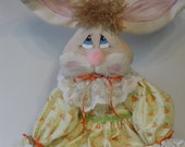 Easter Bunny Rabbit art doll dressed in yellow orange colors