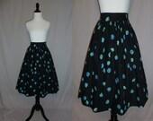 """50s Full Skirt - Black Cotton - Falling Blue & Green Flowers - Vintage 1950s - 24"""" waist"""