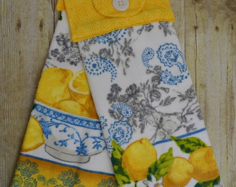 Set of Two Handmade Hanging Kitchen Towels, Pineapples and Citrus, Kitchen Towels, Hanging Towels, Bathroom Towels