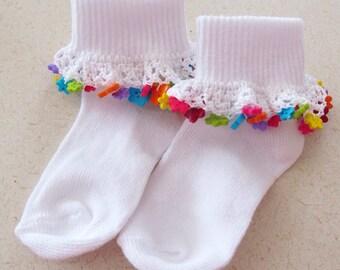 Kids Adorable Socks, Fancy Spring Socks, Girls Fancy Ruffled Socks, Girls Fancy Socks, Girls Party Socks, Girls Small Gift