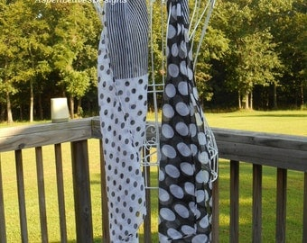 Scarf with Polka Dots and Stripes, Black and White, DISCONTINUED CLOSEOUT SALE!